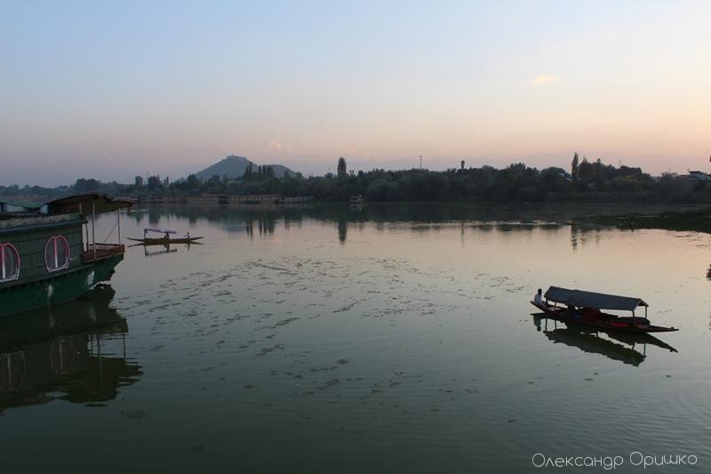 Озеро Нігсен у місті Шрінагар. Ось на таких човнах торговці проподають спеціаї та прянощі